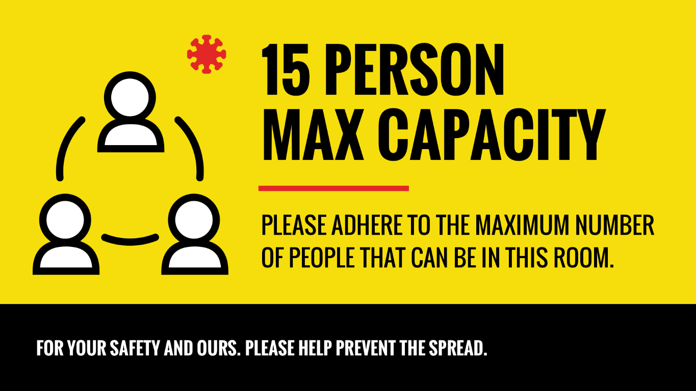 15 person max capacity safety sign
