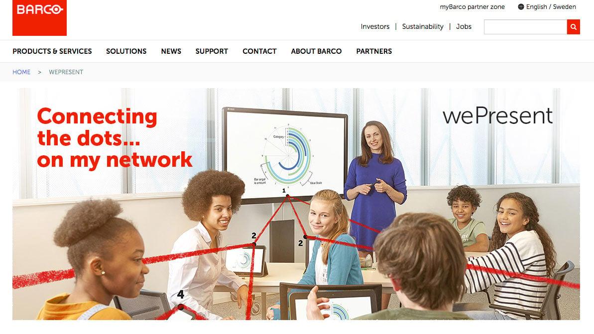 Barco WePresent presentation toolkit homepage