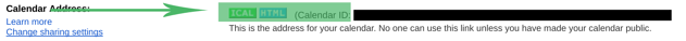 Google Calendar Setting ID for Rise Vision Template