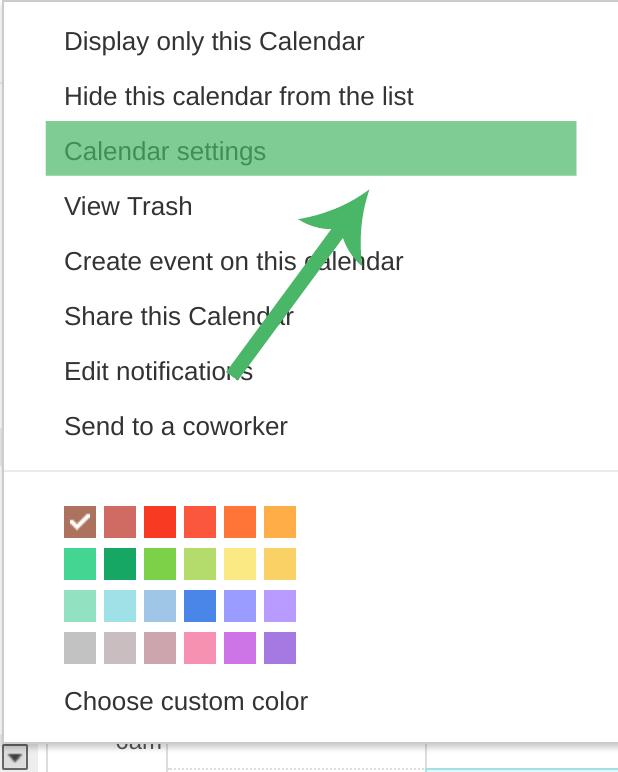 Google Calendar Settings for Template