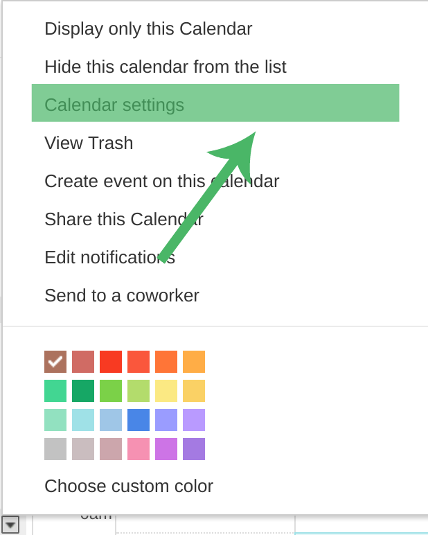 Google Calendar Settings for Template