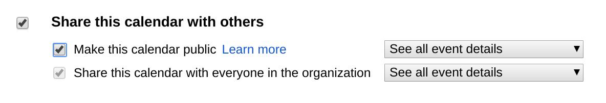 Make Google Calendar Public