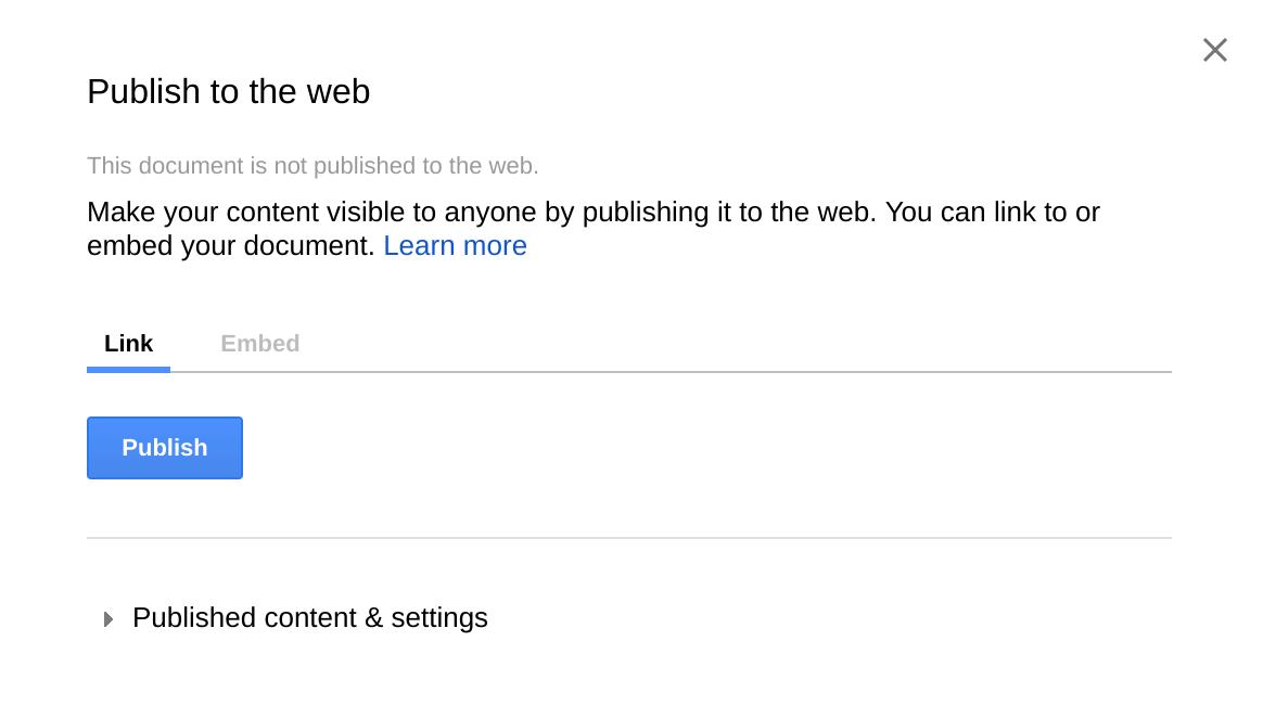 Publish Google Doc to Web Live - Rise Vision