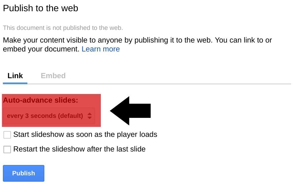 Auto advancing a slide in Google Slides