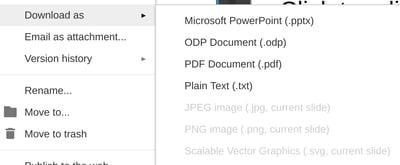 Export your Google Slides presentation