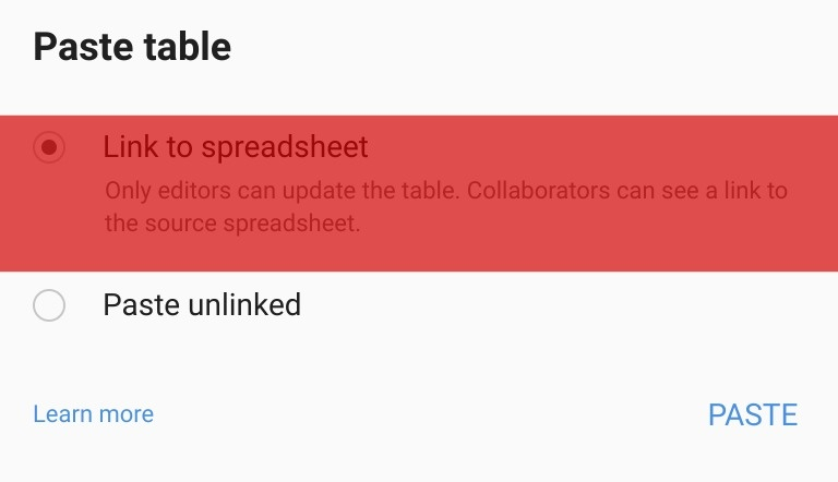 Linking to a Google Sheet in Google Slides