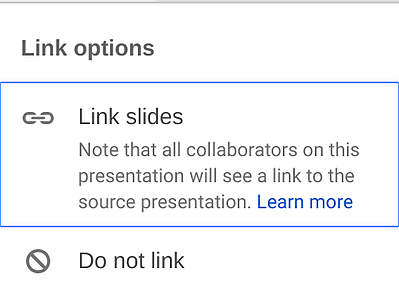Linking slides in Google Slides to stay up-to-date