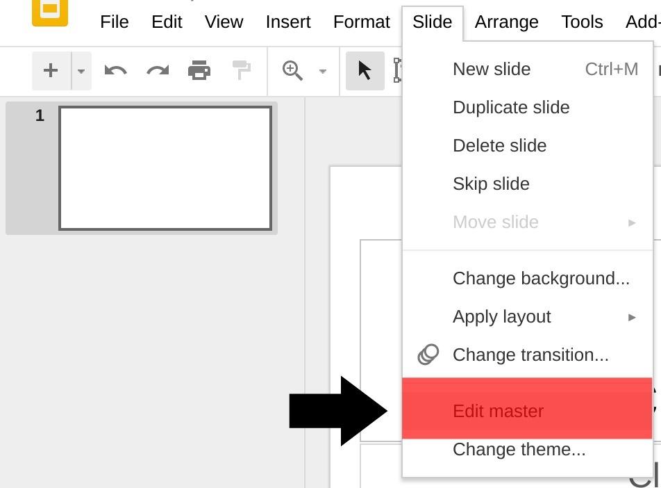 Editing a Master Slide in Google Slides