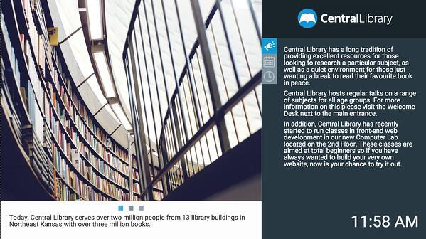 Digital signage for public and college libraries