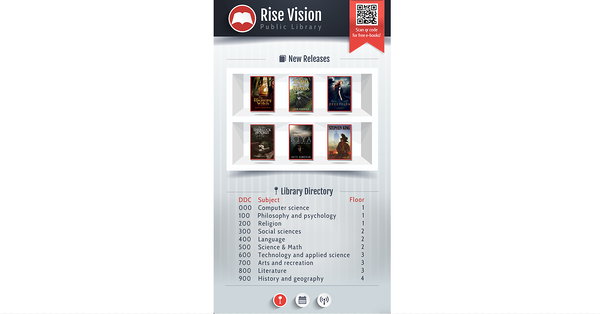 Library directory for digital signage (portrait mode)