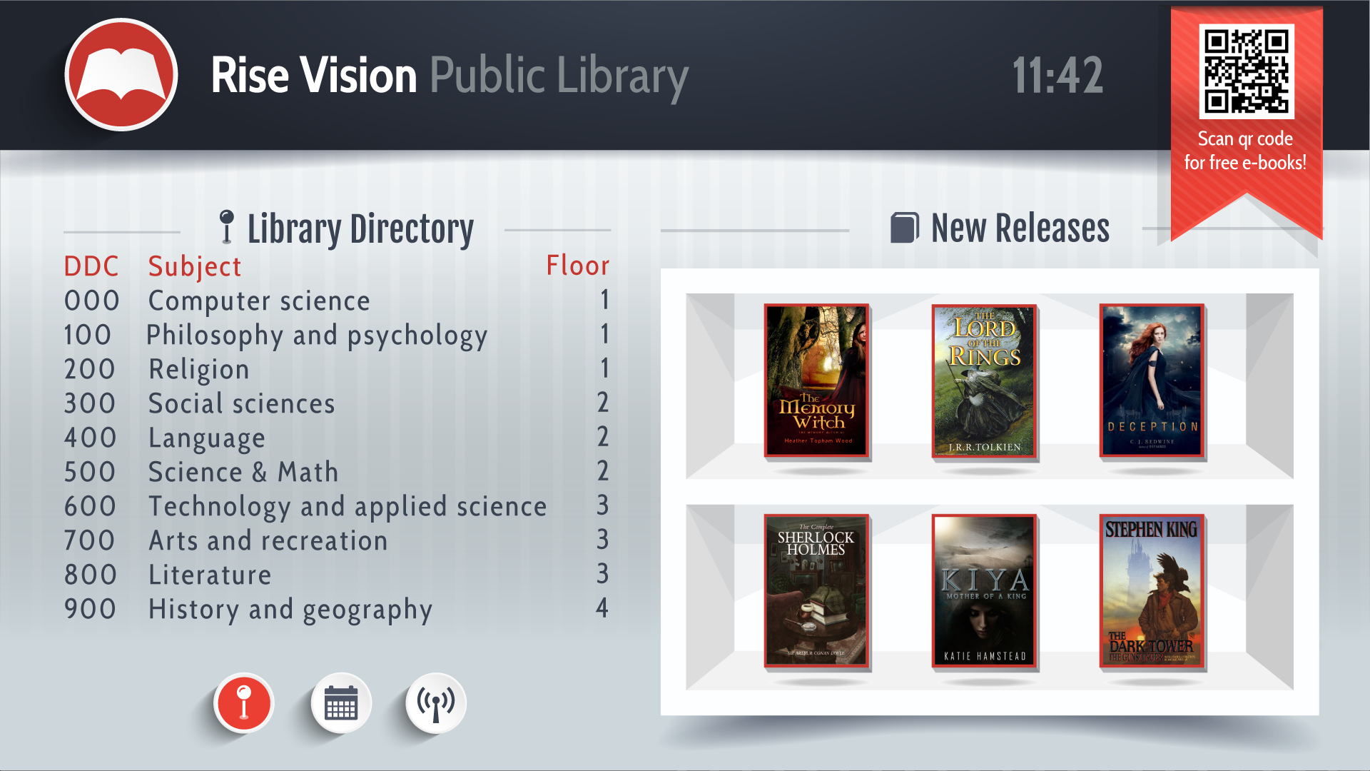 Library directory for digital signage