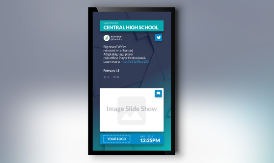 Office digital signage slideshow portrait mode