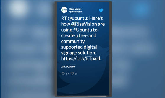 Twitter feed for digital signage (portrait mode).