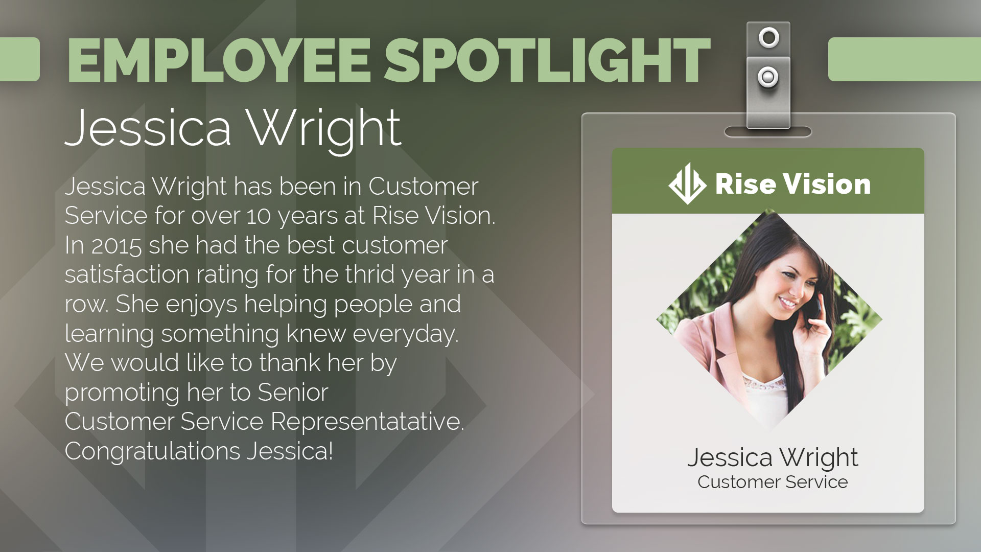 Office staff biographies for digital signage