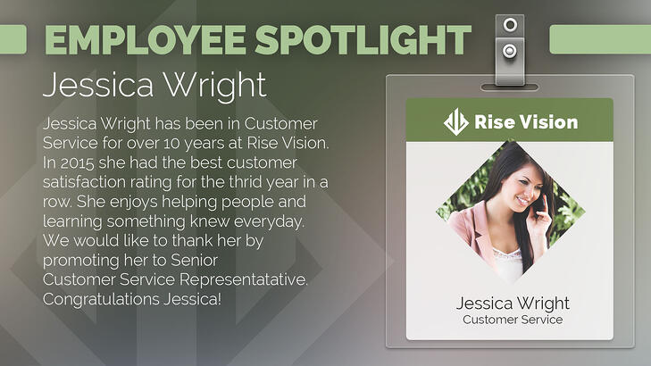 Office staff biographies for digital signage.