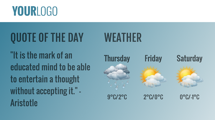 Weather feed for digital signage.