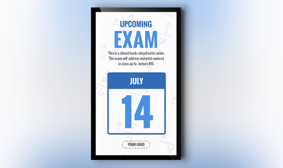 Exam Date Digital Signage Template