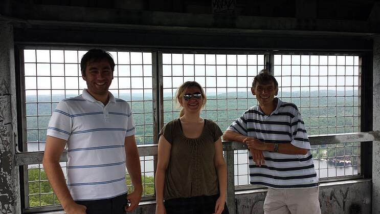 Alex, Donna, and Oleg at the Top of the Fire Tower
