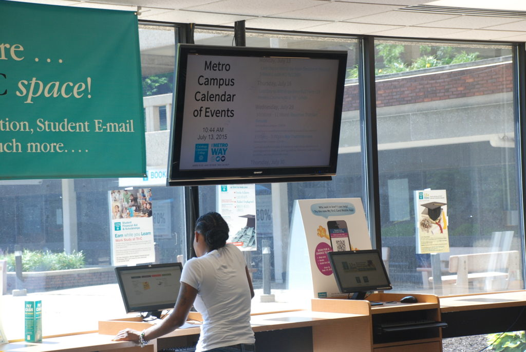 example of digital signage on campus