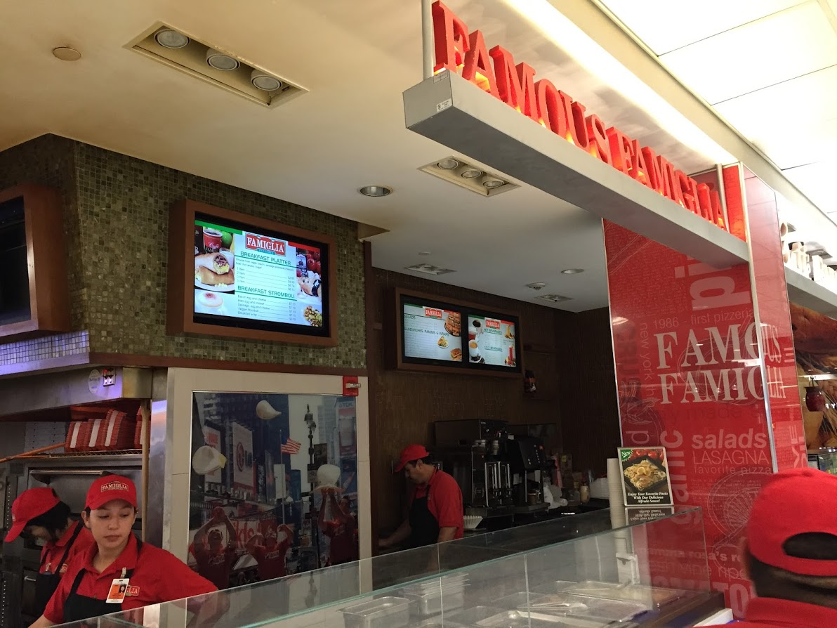 Examples of digital menus at Famous Famiglia Pizzeria