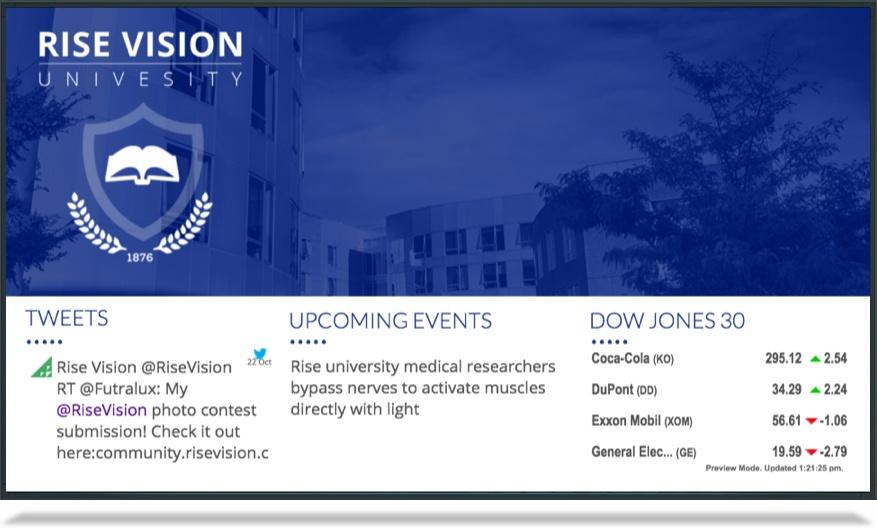 Digital signage content for university lobbies