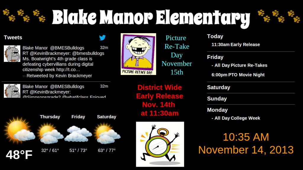 Manor School Board Digital Signage Presentation