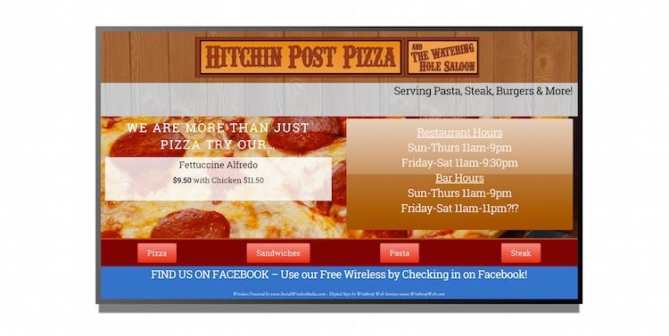 Restaurant digital signage content built with HTML5