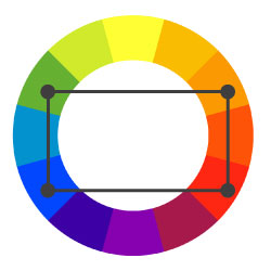 This Color Scheme Creates The Richest Appeal But Is Definitely Hardest To Execute It Takes Four Colors Arranged In Two Complementary Pairs