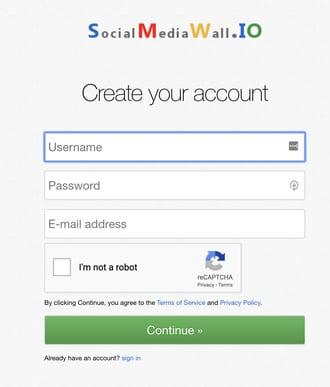 create social media wall i.o. account