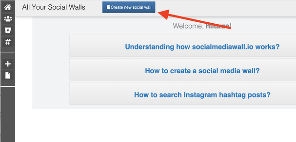 click create new social media wall
