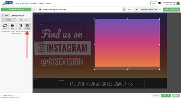click on widget icon