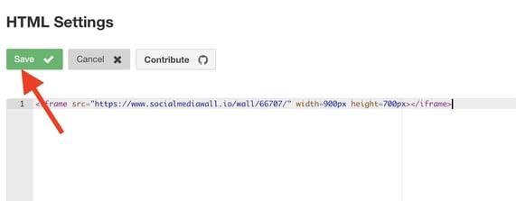 social media wall HTML settings