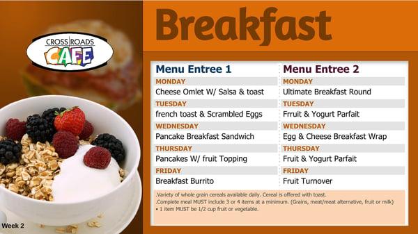 Marysville School District breakfast menu board