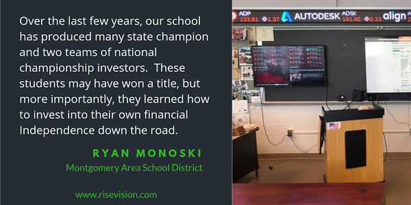 digital signage in a classroom and Ryan Monoski Quote