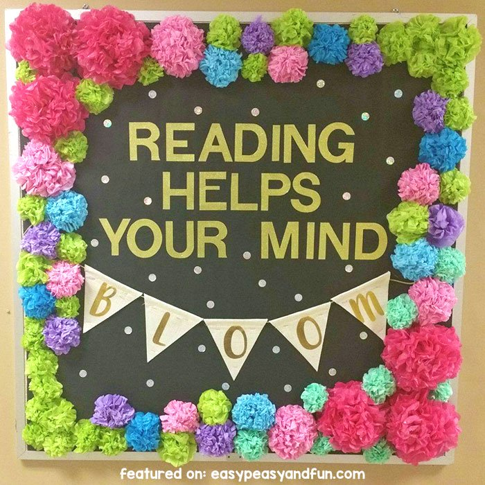 Reading Helps Your Mind Bloom Bulletin Board Idea