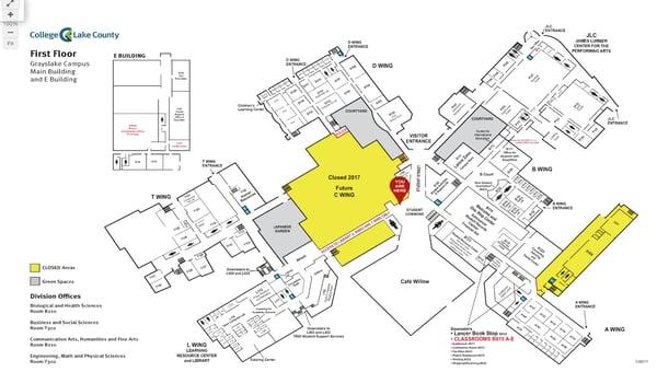 School Map - Webpage Widget - College of Lake County (Campus Map - Help Desk Location)