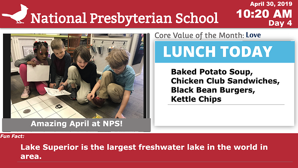 National Presbyterian School Digital Signage with Lunch Menu