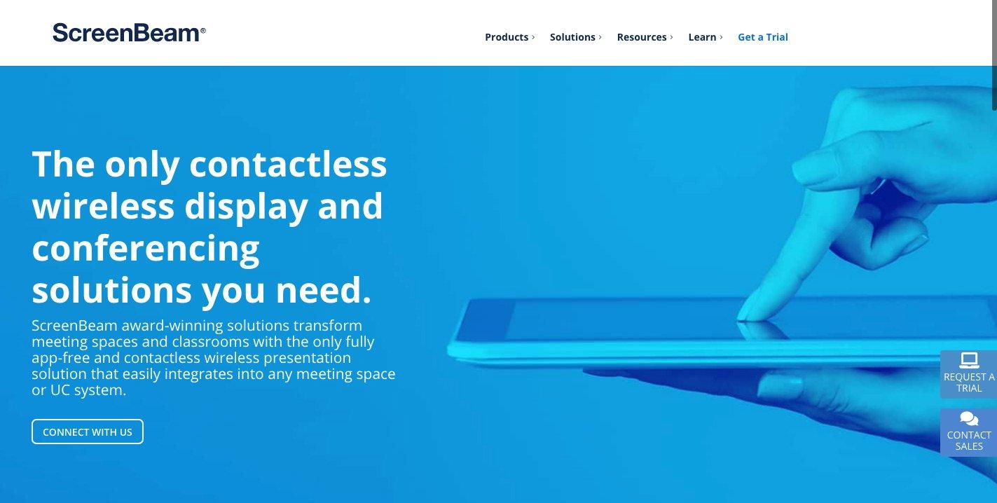 ScreenBeam contactless wireless presentation homepage
