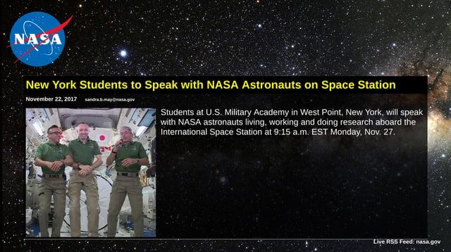 NASA RSS feed digital signage