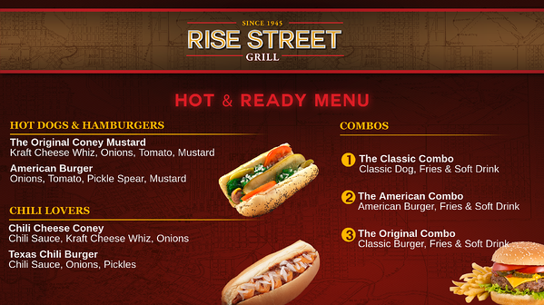 grill digital signage menu