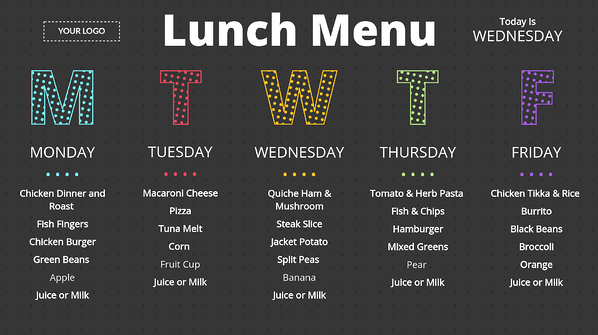 Lunch Menu Digital Signage Template