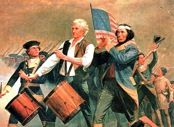 Spirit of 76 painting depicting early 4th of july celebration