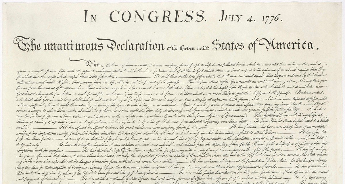 image of declaration of independence showing july 4 not august 2 or july 2