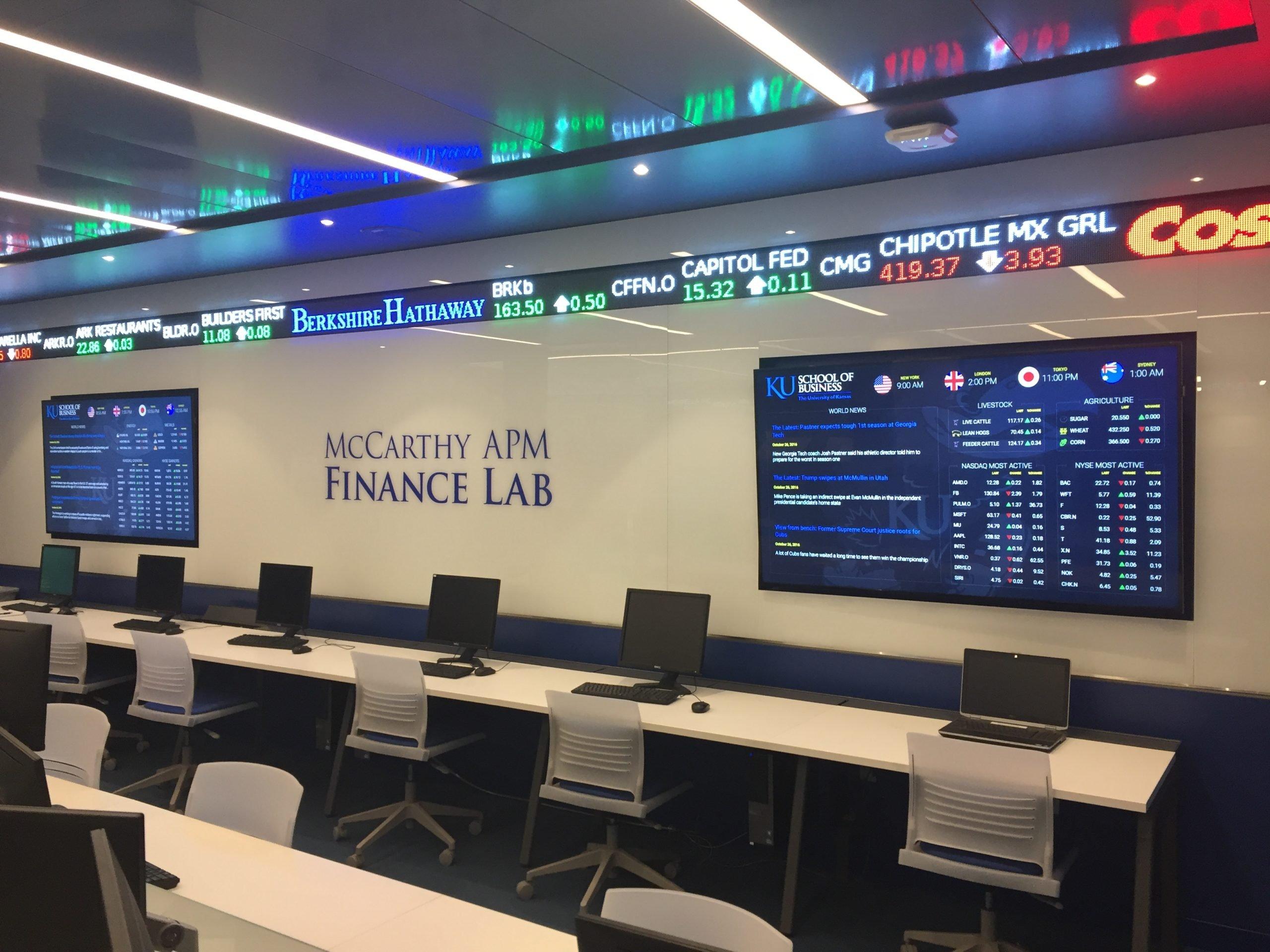 University of Kansas finance lab digital signage