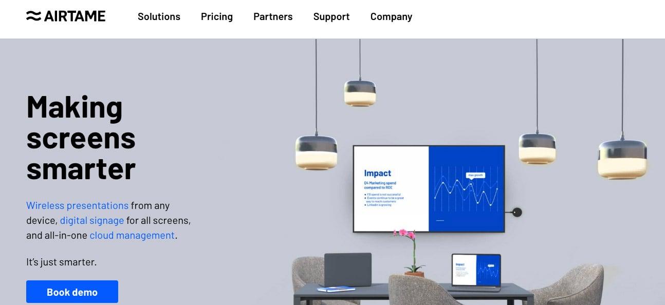 airtame home page screenshot