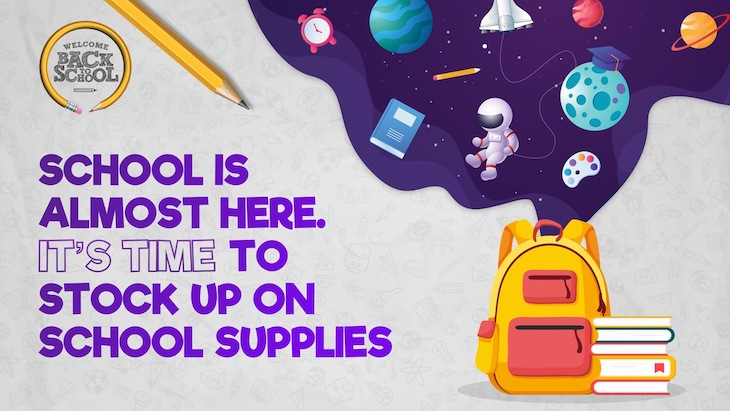 Use this school supplies poster to welcome students back to school.