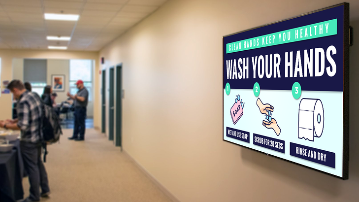 Hand washing best practices office digital signage