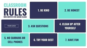 Classroom rules digital signage template