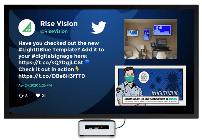 A digital sign showing a Twitter feed, a common digital signage software content integration.