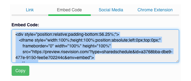 copy Rise Vision embed code